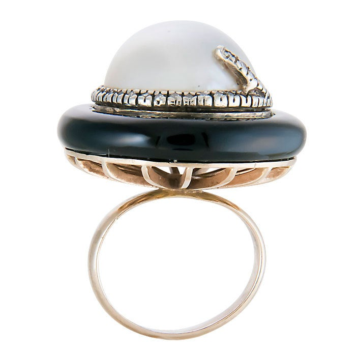 erte gold and mabe pearl ring at 1stdibs