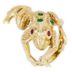 Whimsical Gold and Gem set Frog Ring