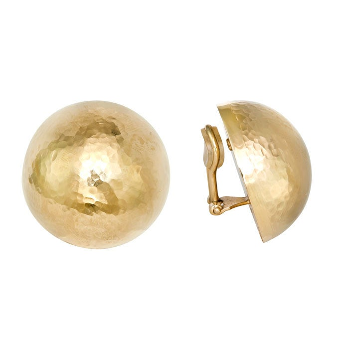 Yellow Gold, Large Hammered Button Ear Clips 2