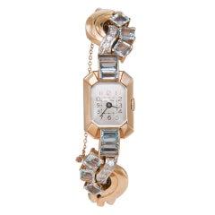 VULCAIN Retro Yellow Gold, Diamond and Aquamarine Bracelet Watch