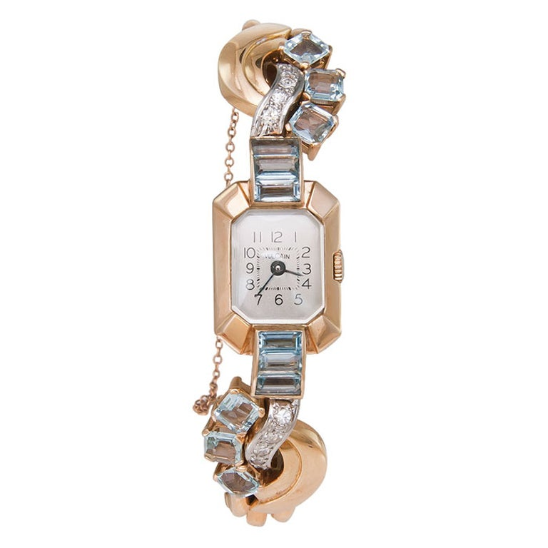 Charm Bracelet Watches: VULCAIN Retro Yellow Gold, Diamond And Aquamarine Bracelet