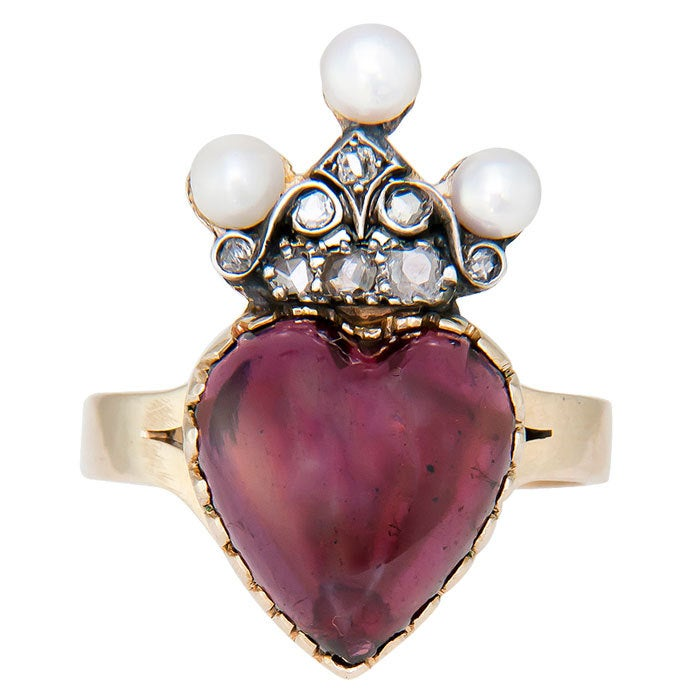 Victorian Heart Shape Garnet Ring 2