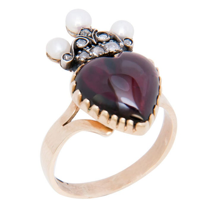 Victorian Heart Shape Garnet Ring 3