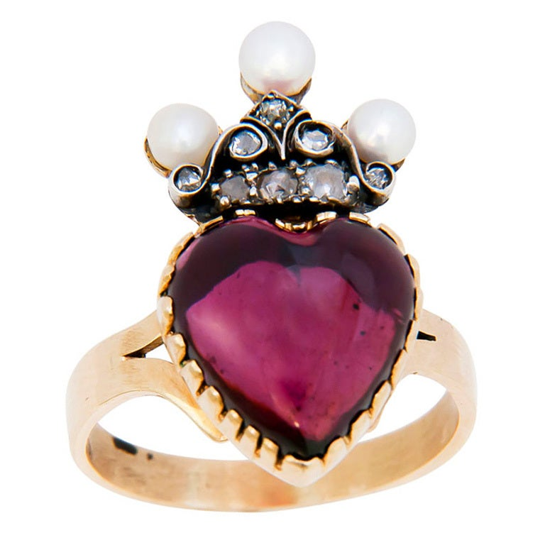 Victorian Heart Shape Garnet Ring 1