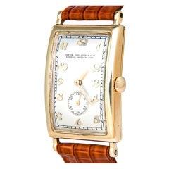 Patek Philippe Yellow Gold Curved Hinged Rectangular Wristwatch