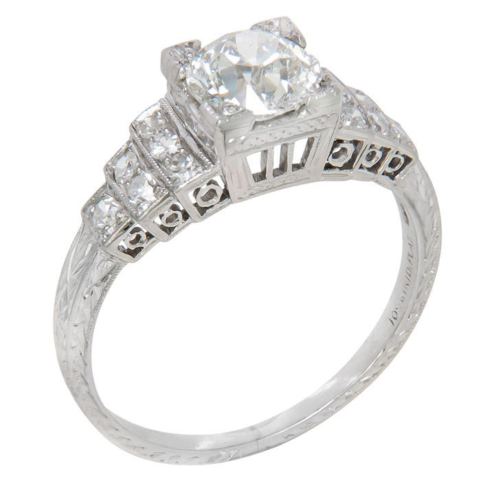 antique platinum and engagement ring for sale at
