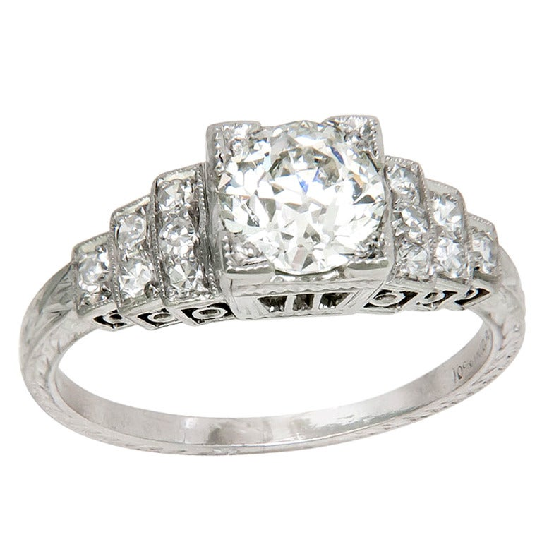 Antique Engagement Rings For Sale: Antique Platinum And Diamond Engagement Ring At 1stdibs