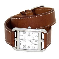 Hermes Stainless Steel Large Cape Cod Wristwatch