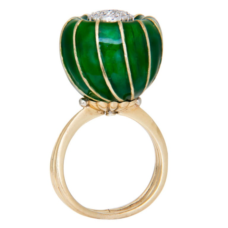 1970s gold and enamel flower ring by toliro at 1stdibs