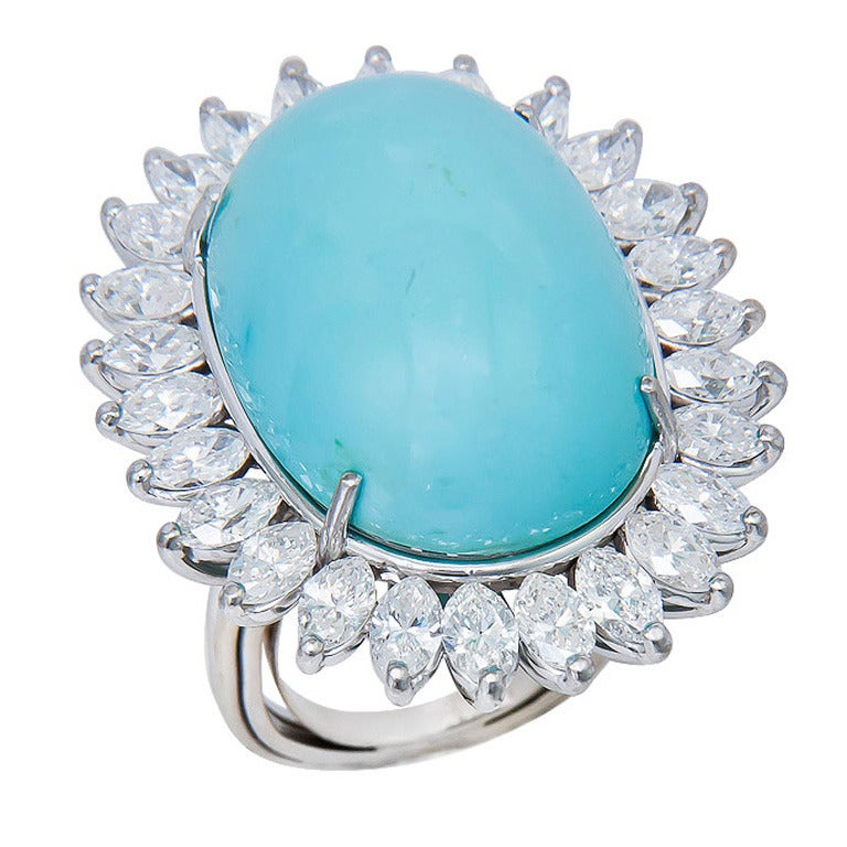 large 18k white gold and turquoise ring at 1stdibs
