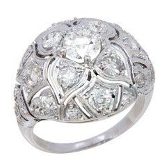 Large Edwardian Platinum & Diamond Dome Ring
