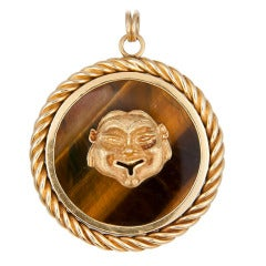 1960s  Large Yellow Gold and Tiger Eye Pendant