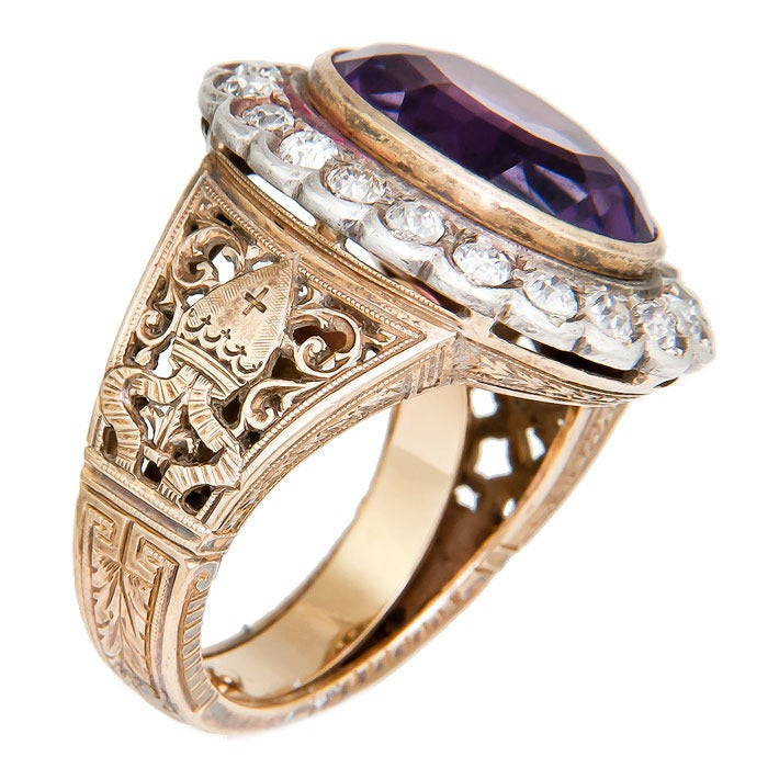 1930s yellow gold and amethyst bishops ring at 1stdibs