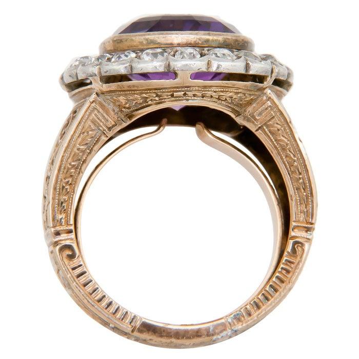 Amethyst Pearl Gold Ring