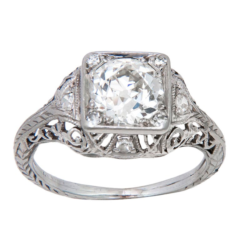 1920s Platinum and Diamond Engagement Ring at 1stdibs