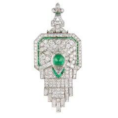 Spectacular Art Deco Diamond Emerald Pendant Brooch