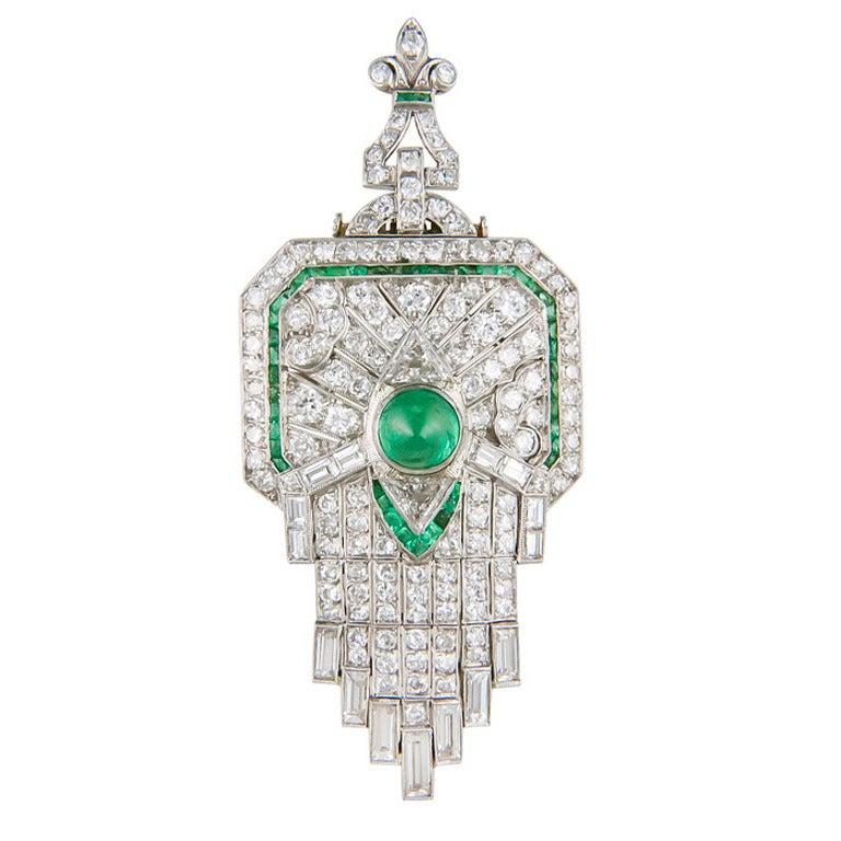 Spectacular Art Deco Diamond Emerald Pendant Brooch At 1stdibs