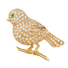 French Van Cleef & Arpels Diamond Bird Brooch