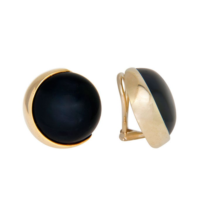 Gucci Onyx Yellow Gold Ear Clips 2