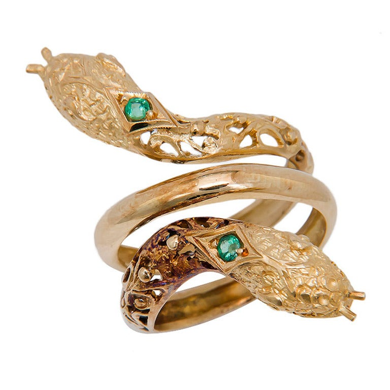 emerald yellow gold snake ring c1970s at 1stdibs