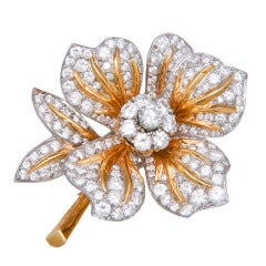 Yellow Gold Diamond Platinum Flower Clip Brooch