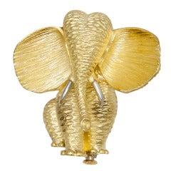 Henry Dunay Gold Platinum Elephant Brooch