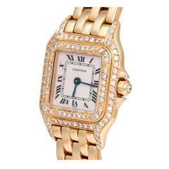 Cartier Lady's Yellow Gold and Diamond Panther Wristwatch with Bracelet