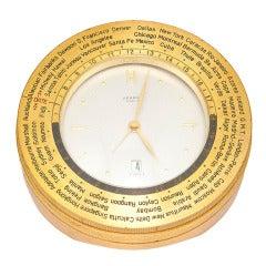 Hermes Gilt Brass World Time Desk Timepiece circa 1960s