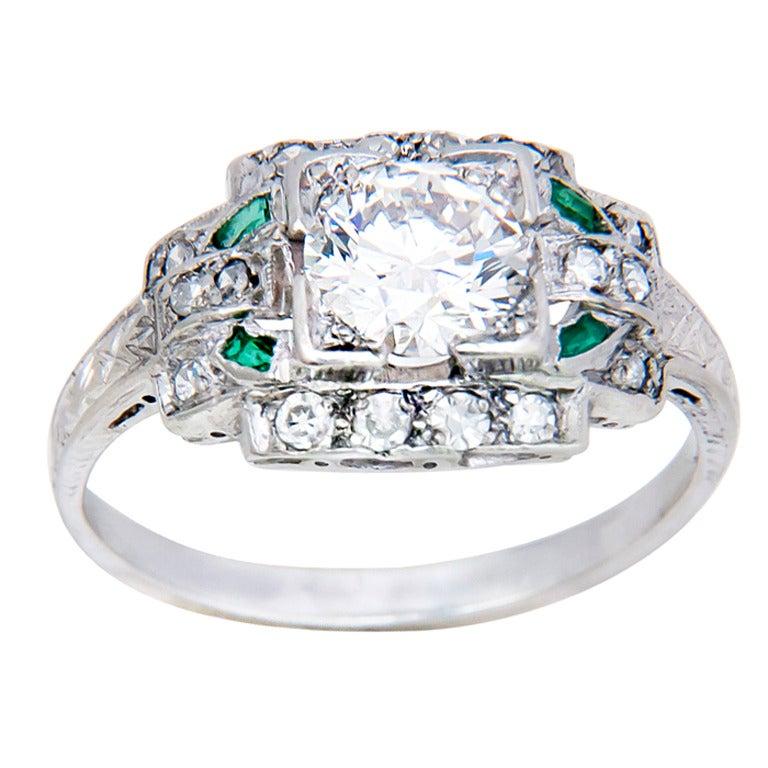 1930s Diamond Platinum Engagement Ring 1