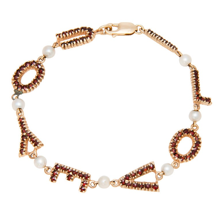 Garnet Gold I Love You Bracelet C1960s For