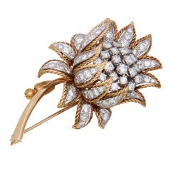 1950s Gold and Diamond Rose Brooch