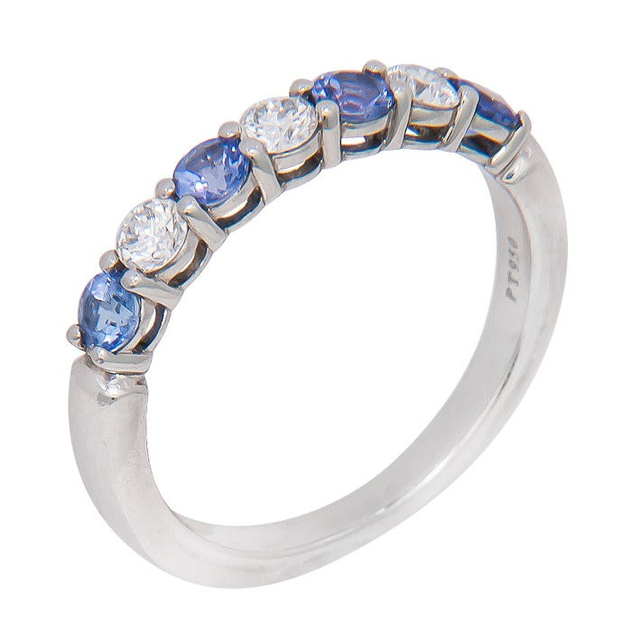 Tiffany And Company Platinum Diamond Sapphire Band Ring At