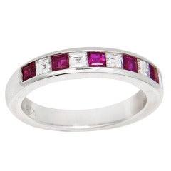 Tiffany & Company White Gold Diamond Ruby Band Ring