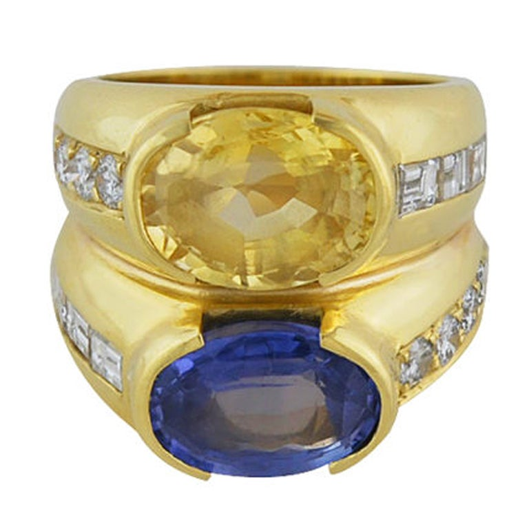 unique yellow and blue sapphire ring with diamonds at 1stdibs