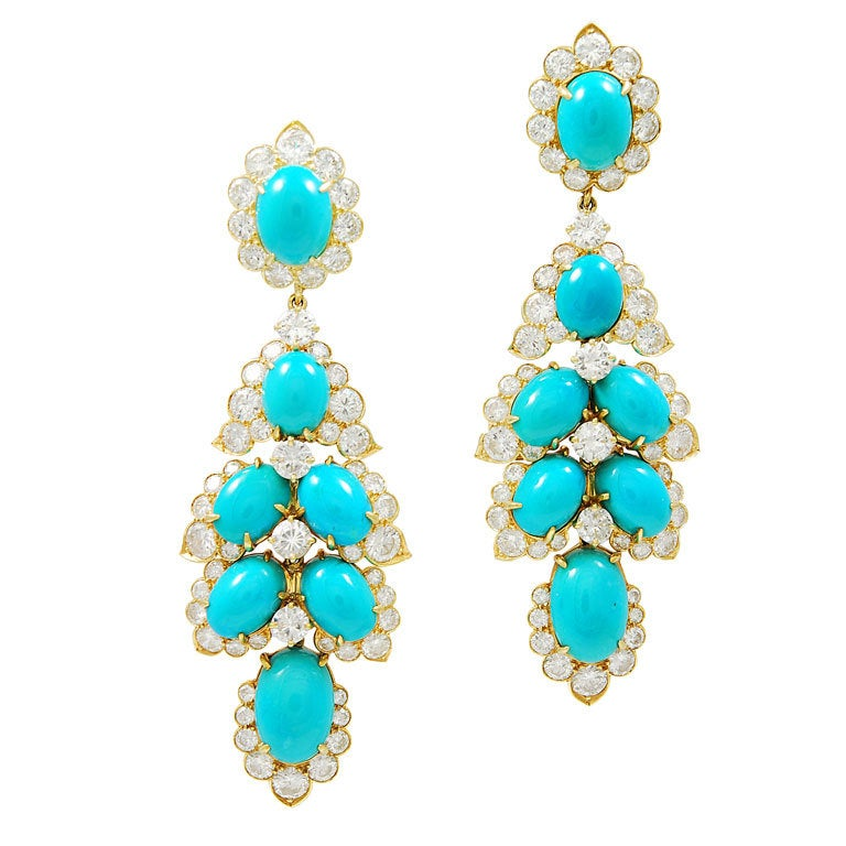 Persian Turquoise And Diamond Earrings At 1stdibs