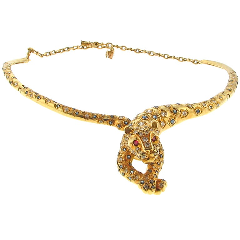 18 carat gold and panther necklace at 1stdibs
