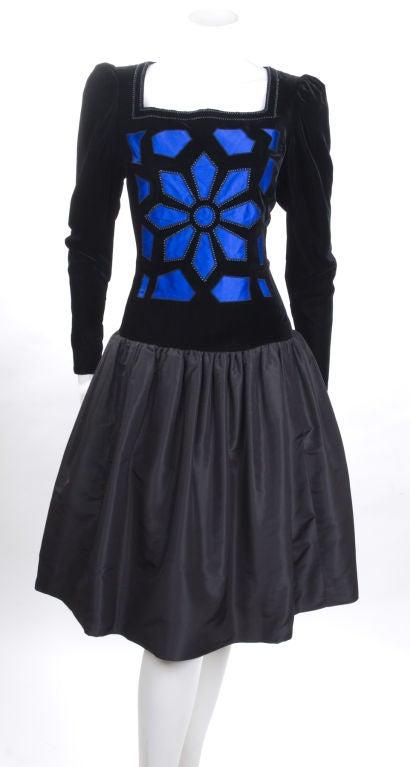 Vintage 80's Givenchy  Nouvelle Boutique Dress in Black & Royal Blue 2