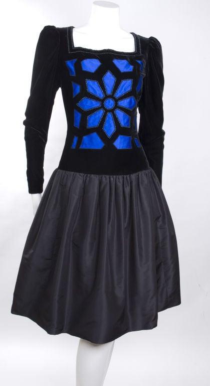 Vintage 80's Givenchy  Nouvelle Boutique Dress in Black & Royal Blue 4