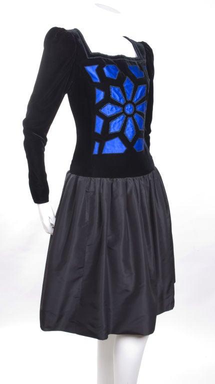 Vintage 80's Givenchy  Nouvelle Boutique Dress in Black & Royal Blue 5