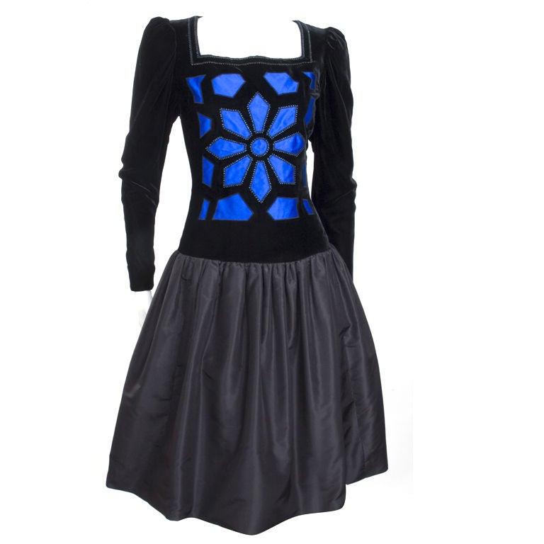 Vintage 80's Givenchy  Nouvelle Boutique Dress in Black & Royal Blue 1