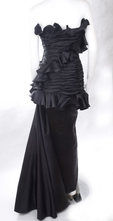 Vintage Victor Costa Black Satin Evening Gown For Sale at 1stdibs
