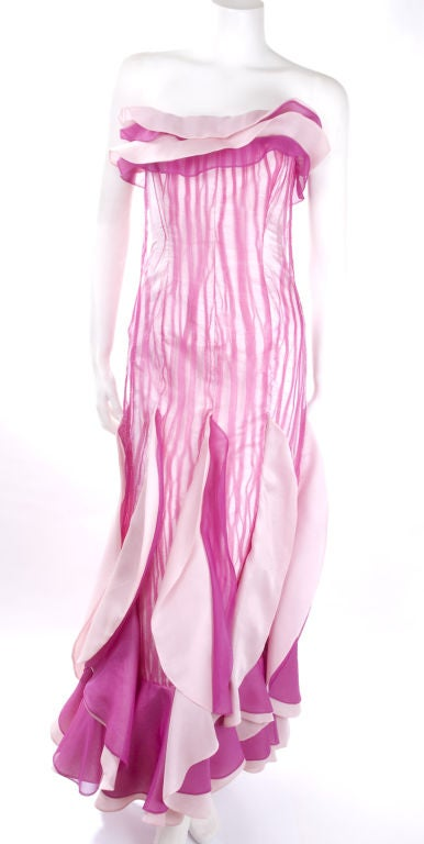 80's Hanae Mori Bustier Evening Gown For Sale 3