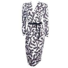 Vintage 80's Yves Saint Laurent Dress in Black and White.