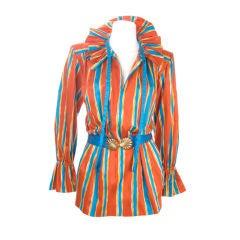 Vintage 80s Yves Saint Laurent Cotton Striped Blouse & Belt
