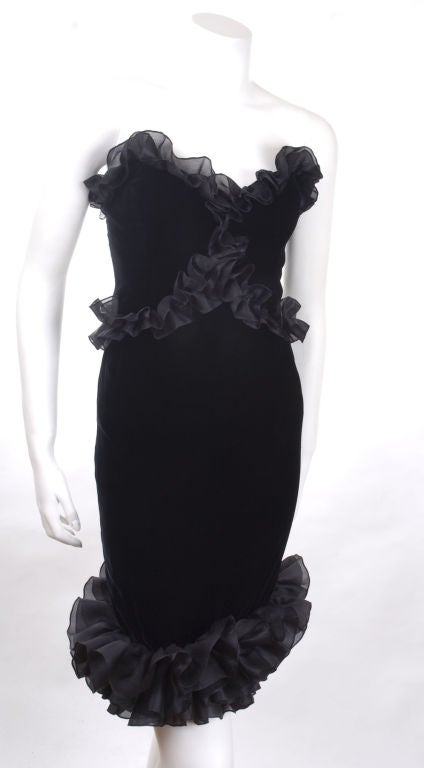 Vintage 1987 Yves Saint Laurent Strapless Black Velvet Cocktail Dress  3