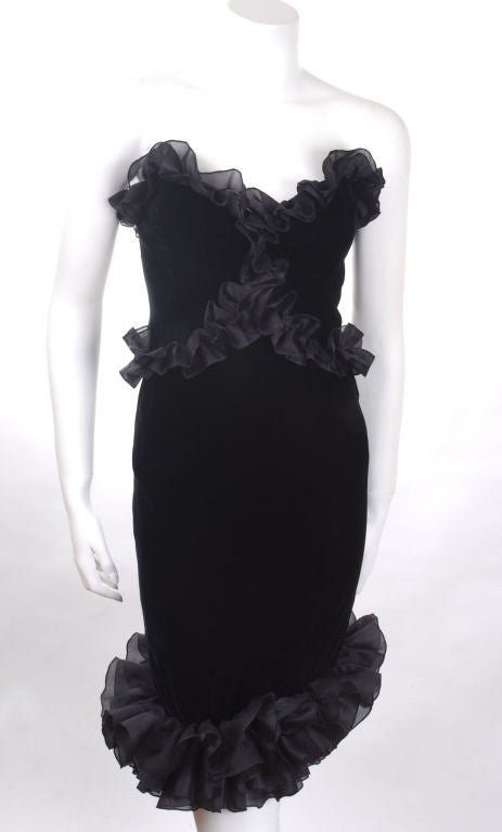 Vintage 1987 Yves Saint Laurent Strapless Black Velvet Cocktail Dress  5