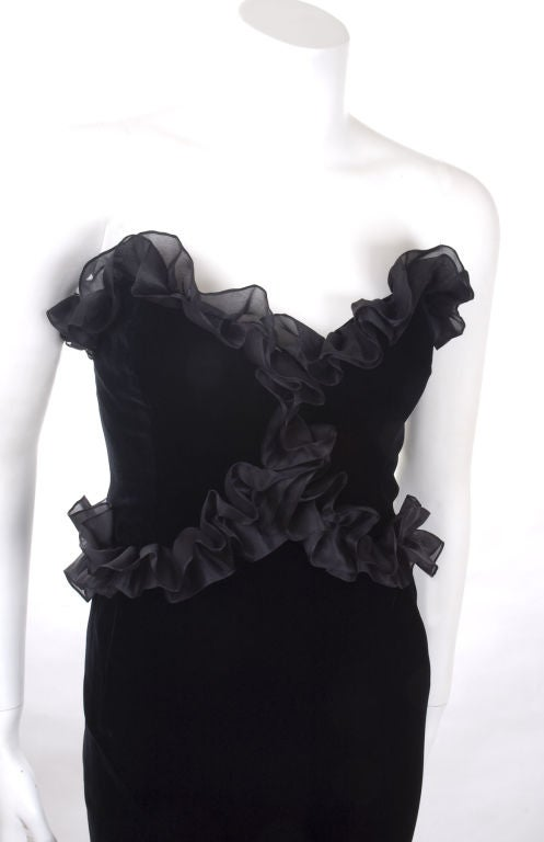 Vintage 1987 Yves Saint Laurent Strapless Black Velvet Cocktail Dress  6