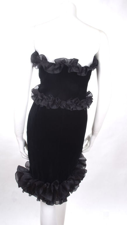 Vintage 1987 Yves Saint Laurent Strapless Black Velvet Cocktail Dress  7