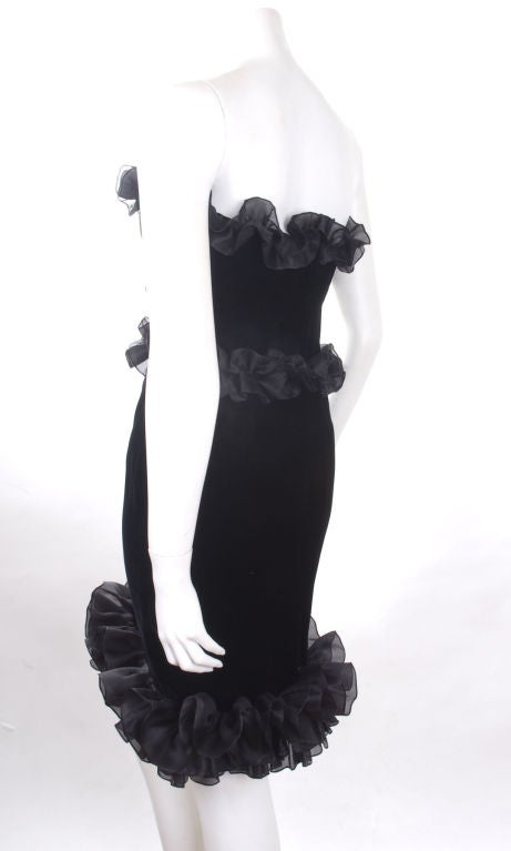 Vintage 1987 Yves Saint Laurent Strapless Black Velvet Cocktail Dress  8