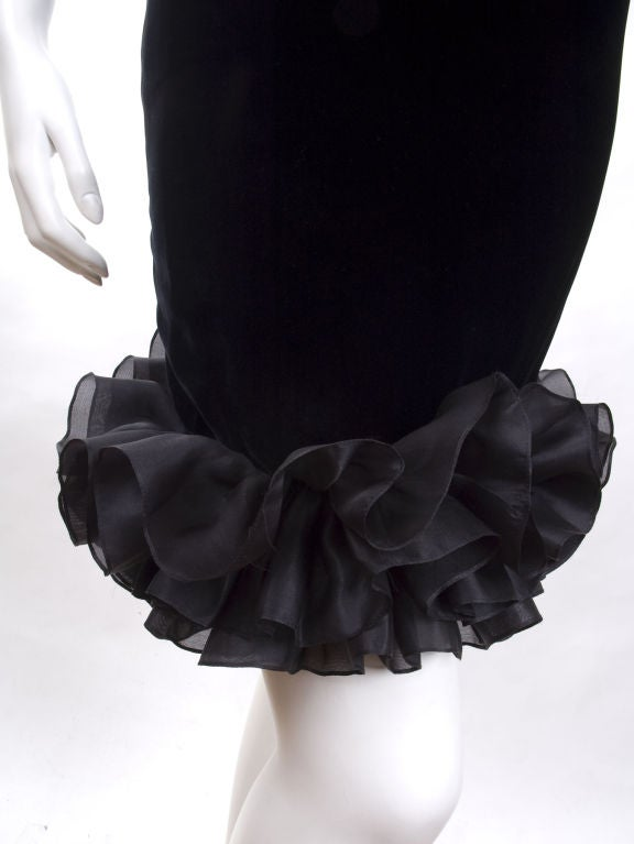 Vintage 1987 Yves Saint Laurent Strapless Black Velvet Cocktail Dress  9